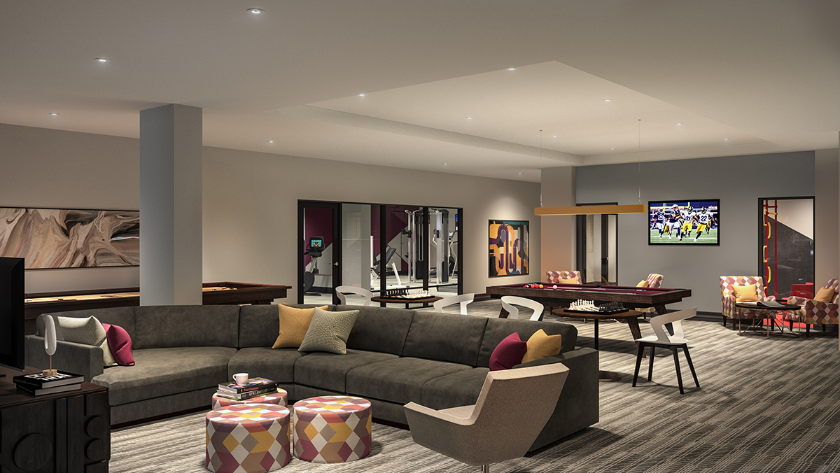 Lounge space featuring movie area, plush couches, billiards and more.